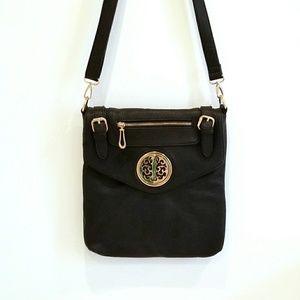 Black leather saddle bag purse